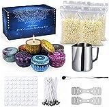 Supersun Kerzenherstellung Zubehör, DIY Duftkerze Geschenke Set mit 50 Kerzendochte, 4 * 120g...