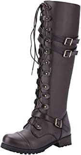 ❤Women's Fashion Punk Gothic Style Boots Buckle Martin Booties Lace-Up Boot
