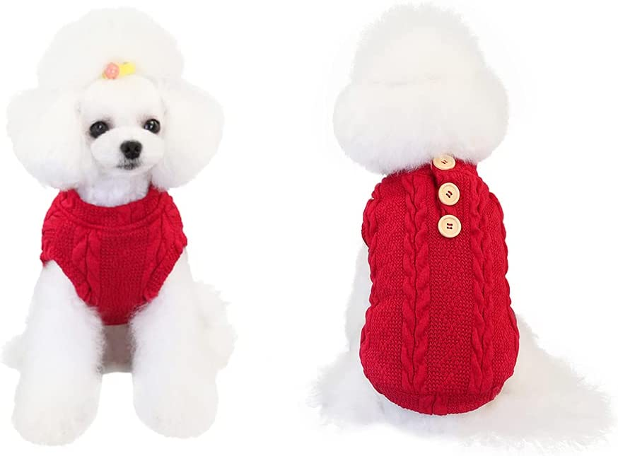 Yealay Dog Knitted Sweater Warm Puppy Pet Clothes Ve Sale item Fleece Great interest Soft