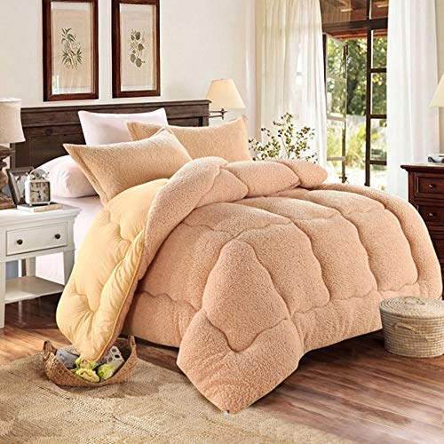 Solid Color Duvet Winter Thick Warm Lamb Wool Quilt Double Quilt Winter Quilt-Brown_220x240cm/5kg