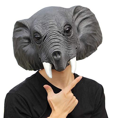 PartyCostume Deluxe novità Halloween Costume Festa Latex Animale Testa Maschera L'elefante