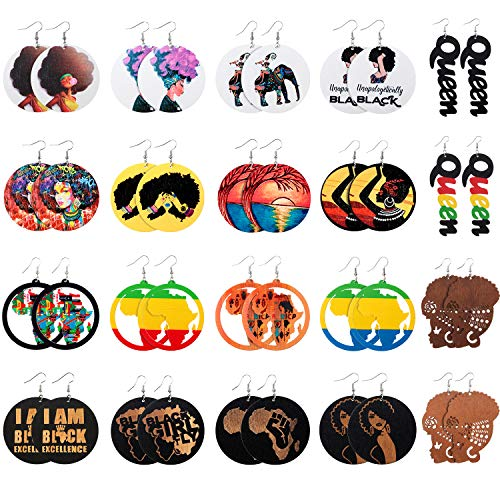 20 Pairs African Map Women Earrings Round Natural Wooden Earrings Ethnic Style Dangle Drop Earring for Women