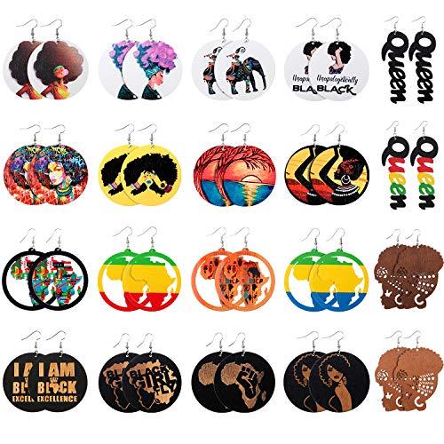 20 Paar Afrikanische Karte Frauen Ohrringe Runde Natürliche Holz Ohrringe Ethnischer Stil Baumeln Tropfen Ohrring für Frauen