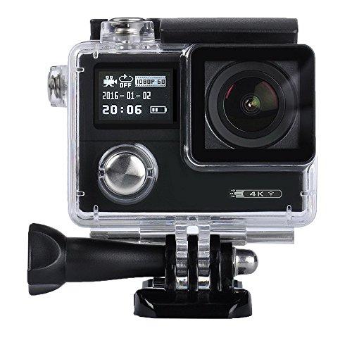 Sport Action Camera, Msqin sport video camera 4K fotocamera impermeabile 12MP WiFi sport Action Camera 5,1cm Dual display HD 170° grandangolare Action Camera accessori con pacchetto portatile di