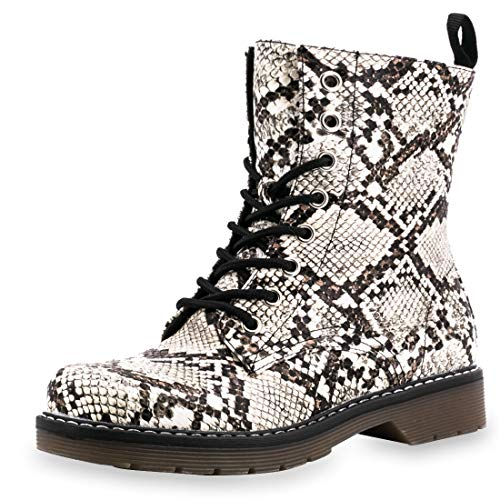 Marimo Damen Schürr Stiefeletten Worker Boots Lederoptik Blockabsatz Profilsohle Schlangenoptik 36