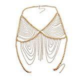 KnSam Damen Körperkette aus Metalllegierung Urlaub Beach Party Quaste Gold Körperkette