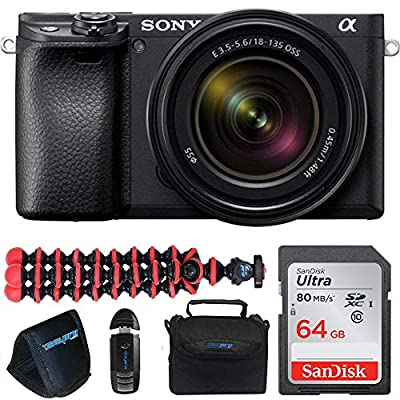 Alpha a6400 Mirrorless Camera: Compact APS-C Interchangeable Lens Digital Camera with Real-Time Eye Auto Focus, 4K Video, Flip Screen & 18-135 mm Lens + Pixi Pro Bundle from Pixibytes