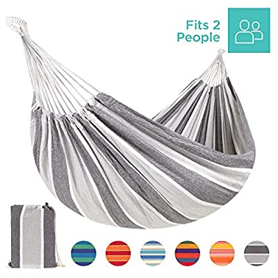 Best Choice Products 2-Person Brazilian-Style Cotton Double Hammock Bed w/Portable Carrying Bag Steel