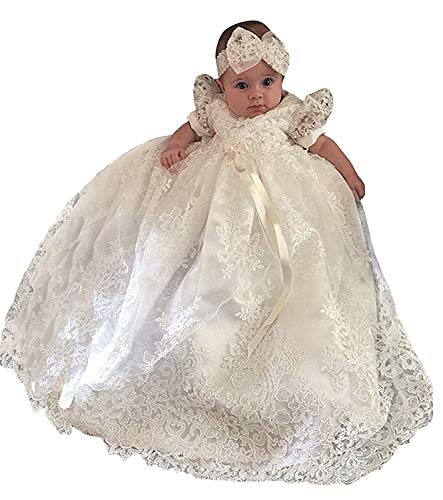 Christening Gown Baby Girl Lace Toddler Dedication Dress for Age 18 Months