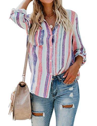 YNALIY Damen Gestreifte Tunika Langarm Elegant Boho Tops Button Up Oberteile V-Ausschnitt Bluse mit Tasche