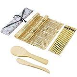 Sushi Kit 10pcs Set di Strumenti per la Preparazione del Sushi, Kit per Fare Sushi in bambù,2 tappetini per Sushi, 1 Paletta per Riso, 1 spatola per Riso, 5 Paia di Bacchette, 1 Sacchetto di Stoffa