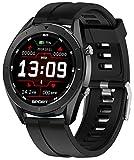 jpantech Intelligente Uhren, 1.3 Zoll Full Round HD Farb Touchscreen Fitness Tracker 5ATM wasserdichte Fitness-Uhr, Schlaf Herzfrequenz Tracker Smart Reminder, Lange Akkulaufzeit (Black)