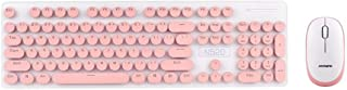 N520 Wireless Punk Manipulator Keyboard Mouse Set Office Business Girls Key Mouse (Color : Pink)