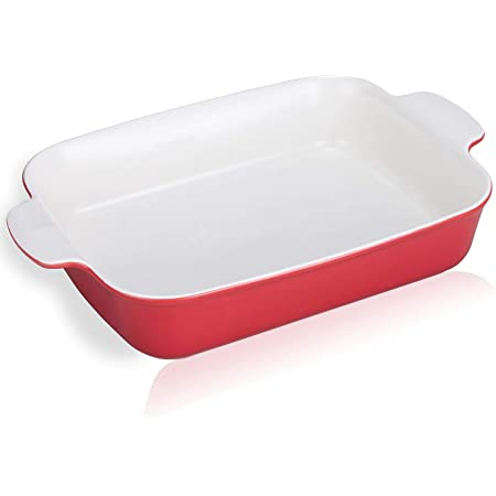 Jemirry Bicolor Baking Dishes Ceramic Rectangular Baking Pans, for Oven Cooking, Chicken Meat Roasts Pan, Cake, Banquet and Daily Use- Red+White