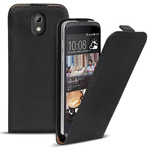Conie BF5167 Basic Flip Kompatibel mit HTC Desire 526 / 526g, PU Leder Hülle Cover Klapphülle für Desire 526 / 526g Tasche Schwarz