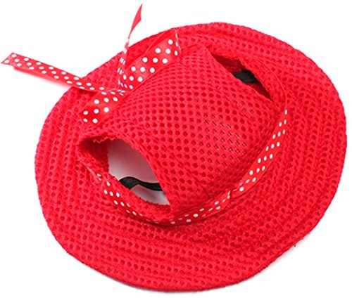 MaruPet Round Brim Princess Cap Visor Hat Pet Dog Mesh Porous Sun Cap with Ear Holes for Small, Extra Small Dog Teddy, Pug, Chihuahua, Shih Tzu, Yorkshire Terriers, Papillon Red S