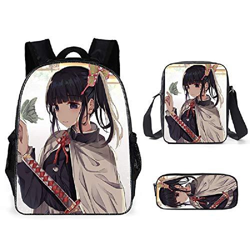 ZBK Anime Demon Slayer Theme School Bag Set,Laptop Backpack With Shoulder Bag And Pencil Case For Girls-11 Colors