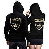 CVLR King Queen - Juego de 2 suéteres de pareja con corona, 2 sudaderas en negro con escudo grande King y Queen en oro en la espalda Negro  Rey L + Reina L