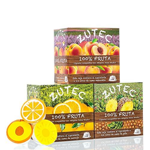 Zutec - Cápsulas de Zumo Surtido (Naranja, Piña y Melocotón) - Compatibles con cafeteras Nescafé Dolce Gusto®* - 3 Estuches de 12 cápsulas - 36 cápsulas
