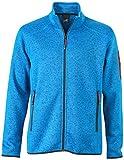 James & Nicholson Herren Jacke Jacke Knitted Fleece Jacket blau (Royal-Melange/Red) X-Large