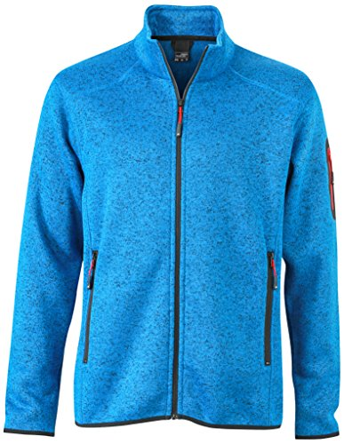 James & Nicholson Herren Jacke Jacke Knitted Fleece Jacket blau (Royal-Melange/Red) XX-Large