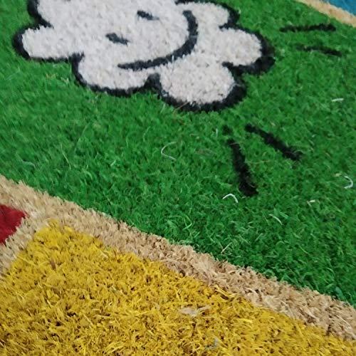 COMERCIAL CANDELA FELPUDOS Y ALFOMBRAS Felpudo para Puerta de Casa de Fibra de Coco Estampado de 15 mm Antideslizante, Diseño Nube 40x60
