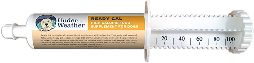 Under the Weather Pets | Ready Cal for Dogs 3.5oz | High Calorie Nutritional Supplement for Weight Gain | 9 Vitamins, 7 Minerals, Fatty Acids | Palatable Natural Fish & Malt Flavor | Dog Not Eating |