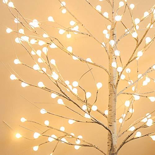 CJKBD Palla a LED, betulla bianca, luci luminose, decorazioni per alberi di Natale, decorazioni per la casa, 180 cm USB