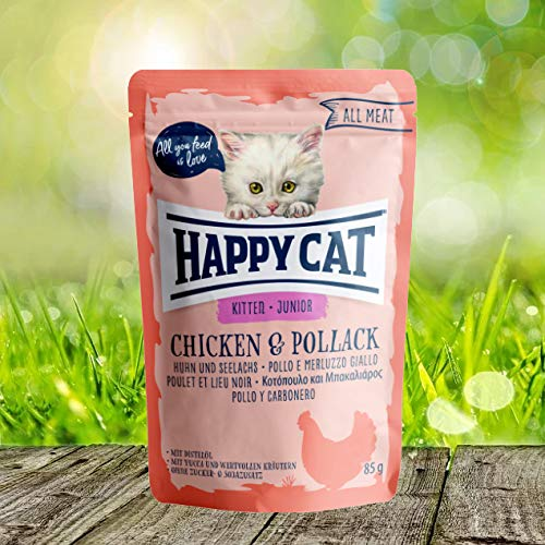 Happy Cat Pouch Junior Huhn & Seelachs, 1er Pack (1 x 85 g)