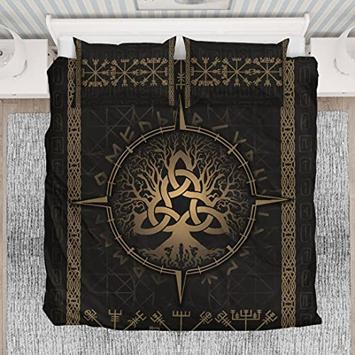 Personalized Viking Yggdrasil Celtic Rune Circle Bedding Set 3/4pcs 1 Duvet Cover 2 Pillow Cases Twin Full Queen King Size Winter New Year Birthday Gift to My Kids Adults