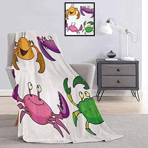 Toopeek - Manta de franela para niños, diseño de cangrejos, diseño de dibujos animados, súper suave y cómoda, manta de cama de 54 x 72 pulgadas, color morado y verde