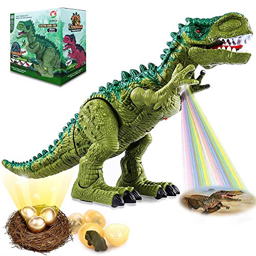 2019 New Eddition, Gifts Box Electronic Walking Dinosaur Toys for Kids Boys Girls, Projection LED Light Up + Green T-Rex with roaring Sounds, Real Movement, 3 Laying Eggs, Birthday party supplies
