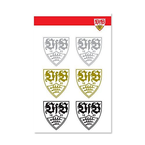VfB Stuttgart Wappen Logo Sticker/Aufkleber transparent 6er Pack ca 4 x 4 cm