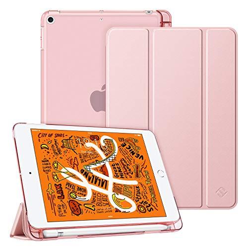 Fintie Hülle mit Pencil Halter für iPad Mini 5 2019 - Superdünne Superleicht Schutzhülle mit durchsichtiger Rückseite Abdeckung mit Auto Schlaf/Wach für 2019 iPad Mini (5. Generation), Roségold