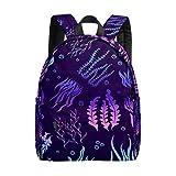 Bolsa grande para ordenador portátil púrpura tropical acuario mar maleza marina bolsas de escuela para niñas ligeras bolsas de viaje mochila para niños hombres mujeres