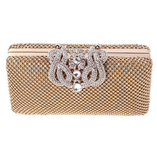 FENICAL Bolso del banquete del partido del embrague de la boda del diamante artificial de la tarde para las señoras de las mujeres (de oro)