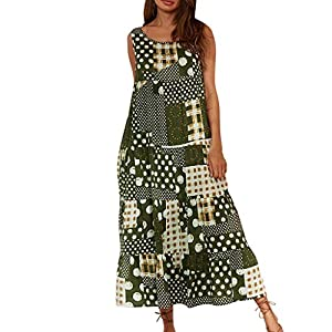Plus Size Dresses for Women Boho Summer Casual Beach Long Maxi Tank Dress