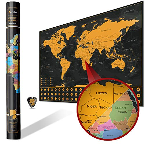 Bereko XXL Weltkarte zum Rubbeln mit Inseln – Landkarte 82 x 58 cm in Gold Schwarz – Rubbelweltkarte Made in Germany – Geographie Weltkarte zum Freirubbeln inklusive Geschenkverpackung