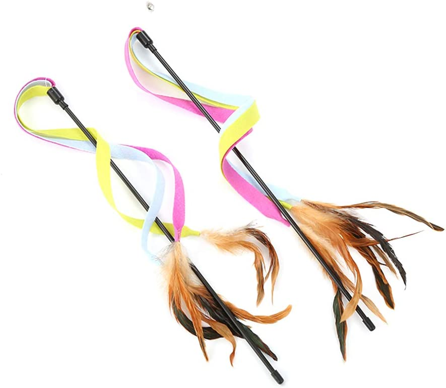 New popularity 2pcs Cat Teasing Toy Teaser with Colorful Feather Great interest Cloth Bell