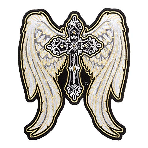 PatchStop Angel Wings Cross Gold Iron On Patches for Clothing Jeans - 8.5x10in Large DIY Sew On Back Patch for Jackets Bags - Embroidered Decorative Christian Patches