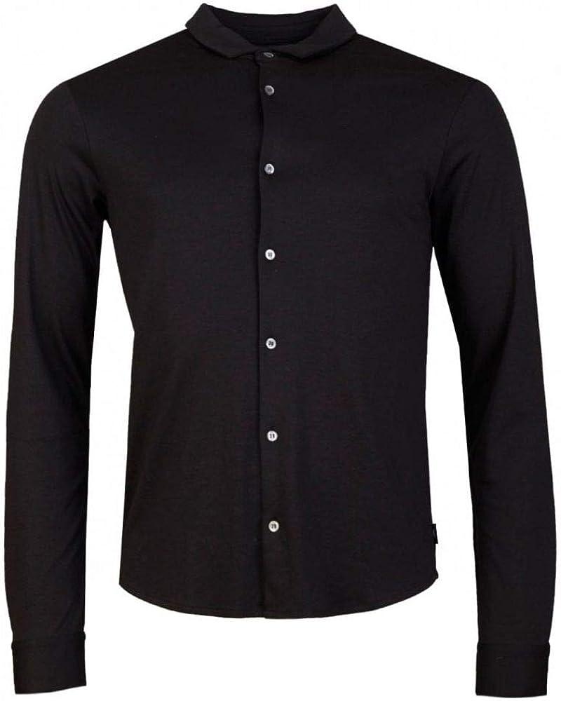 Armani Men's Slim Fit Jersey Cotton Shirt Black