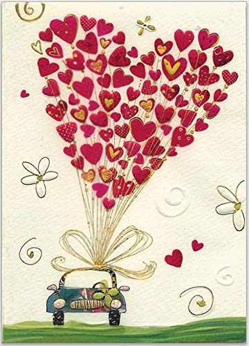 Hochwertiges kleines Notizbuch mit linierten Seiten, 10,5 x 15 cm (Pocketsize, geprägtes Papier, original von Turnowsky (Hochzeitsauto mit Herz-Ballon)