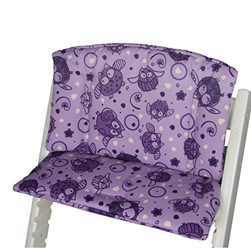 Babys-Dreams Sitzkissen Auflage Sitzkissenset für Stokke Tripp Trapp Hochstuhl (Lila Lila Dicke Eulen $6)