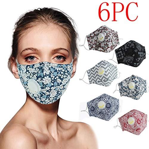 QUYYEI 6PC Outdoor Mundschutz Schutz mit Ventil, Wiederverwendbar und waschbar, Atmung Schutz Gegen Staub, Licht, Leichtes Atmen, Stoffschlauch für Damen und Herren