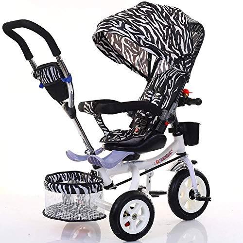 TZZ Bébé Tricycle, Pare-soleil réglable, nourrisson d'absorption de choc poussette bicyclette, for tout-petits garçons/filles, 7 mois - 6 ans (Couleur : Black and White Stripes)