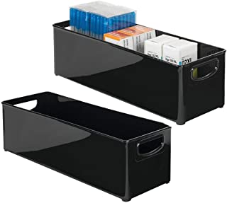 "$22 » mDesign Large Stackable Plastic Storage Bin Box Container, Home Office Desk and Drawer Organizer Tote with Handles - Holds Gel Pens, Erasers, Tape, Pens, Pencils, Markers - 16"" Long, 2 Pack - Black"