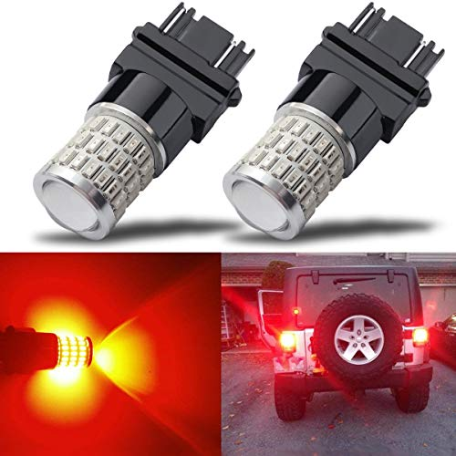 iBrightstar Newest 9-30V Super Bright Low Power Dual Brightness 3156 3157 3056 3057 LED Bulbs with Projector Replacement for Tail Brake Lights,Brilliant Red
