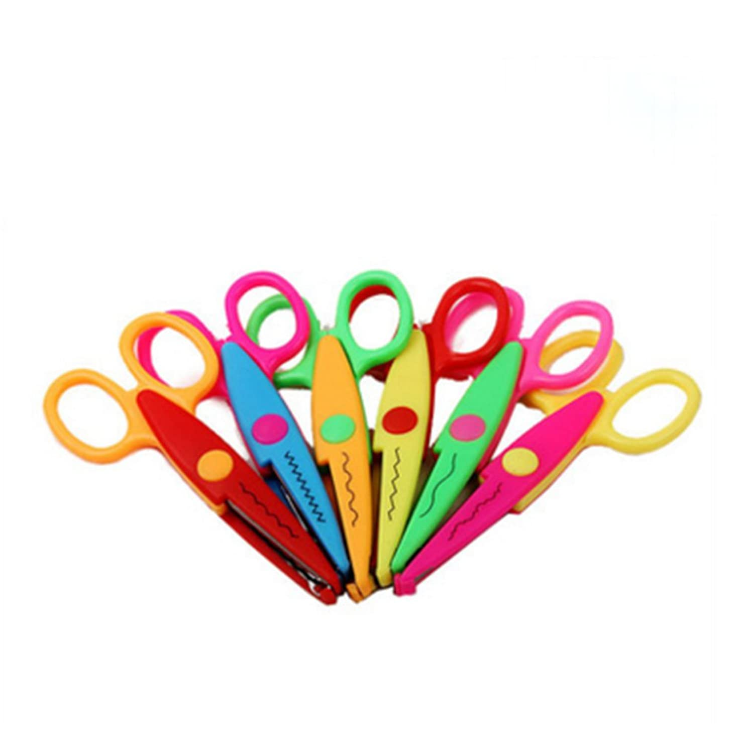 CiCy 5 Inch Length Creative Scissors School Smart Paper Decorative Wave Lace Edge Scissors - Set of 6 -Safe Paper Edging Scissors for scrapbook crafts and Gift Card (Pack of 6 )