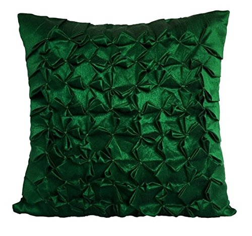 Set of 2 Emerald Green Textured pillow covers With Smocking Details In Floral Pattern Emerald Green Throw pillow covers In Solid Color (12x12 inches, Emerald Green, Set of 2 pillow covers)