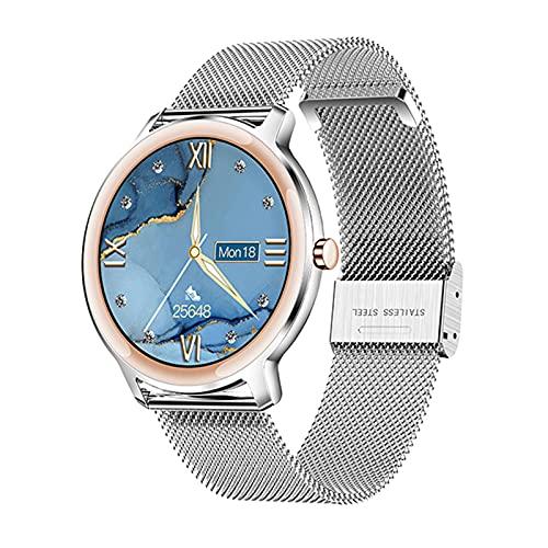 QKA Ultradünne 7,3-mm-Smart-Uhr, Damen-Herzfrequenz IP67 wasserdicht 1,1-Zoll-runder Bildschirm Ultra-Lange Standby-Uhr PK S02,D